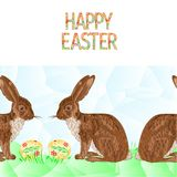 Hare för bakgrund för lycklig easter gräns sömlös med illustrationen för vektor för easter ägg och gräspolygonför bruk i inredesi Fotografering för Bildbyråer