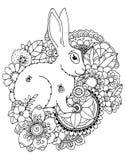 Hare för vektorillustrationzentangl i blommor Klotterteckningspenna Färga sidan för vuxen anti--spänning Svart vit Arkivbilder