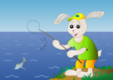 Hare fishing, fish is left Stock Images