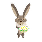 Hare with flowers Stock Photos