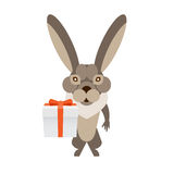 Hare with a gift box Stock Images