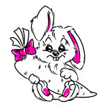 Hare gift carrot contour illustration pink Royalty Free Stock Image