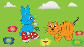 Hare and ginger tabby cat. Stock Photo