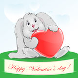 Hare with a heart a congratulation Stock Images