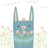 Hare illustration. Cute hare with flowers on white  background. Vector illustration in cartoon style for print design of children s banners, postcards, posters Royalty Free Stock Images