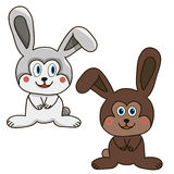 Hare isolated cartoon brown white. Coloring Stock Image