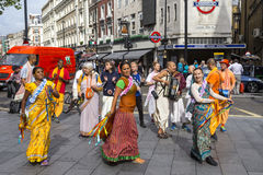 Hare Krishna devotees in Leicester Square. London, England royalty free stock photos