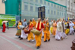 Hare Krishna devotees in Moscow. Walking street Arbat in the city center Royalty Free Stock Image