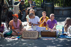 Hare Krishna follower in New York. City Royalty Free Stock Images