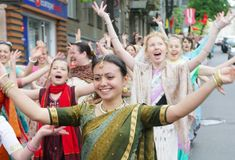 Hare Krishna followers Royalty Free Stock Photography