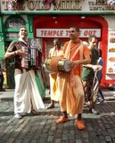 The Hare Krishna movement. Chanting `Hare Krishna` near Merchant`s Arch in Dublin. This movement is a branch of Hinduism royalty free stock image