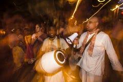 Hare Krishna Performers in Dia De Los Muertos Procession Stock Photography