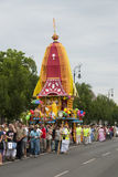 Hare Krishna procession. Colorful Hare Krishna procession in Budapest Royalty Free Stock Photo