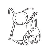 Hare and Leveret Eating Carrot Outline for Kids Royalty Free Stock Images