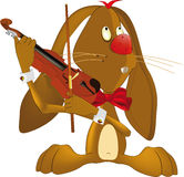 Hare the musician. Pets rabbit rodent toy violin Stock Photography