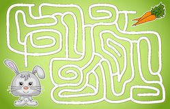 Hare must go to the carrot through the maze and don't get lost Royalty Free Stock Image