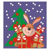 Hare new year gift in color 11 Royalty Free Stock Images