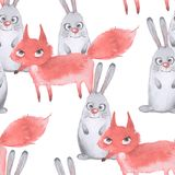 Hare och räv seamless modell 3 Hand drog vattenfärgdjur Royaltyfria Foton