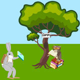 Hare and owl in library. An owl and a hare with books in a library in a forest clearing, vector illustration Royalty Free Stock Image