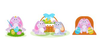 Hare paints eggs with brush, pair of hares near basket. Set of easter hares: a hare paints eggs with a brush, a pair of hares near a basket, decorative Stock Photo