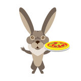 Hare with pizza Royalty Free Stock Images