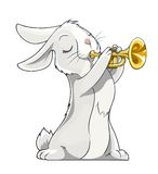 Hare playing trumpet Stock Photos