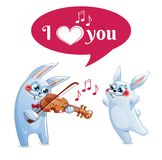 The hare plays the violin. Love. The hare, bunny, rabbit plays the violin. I love you. Postcard, greeeting card Stock Photo