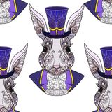 Hare or rabbit in the hat from the fairy tale Alice in Wonderland. Seamless pattern, background. Stock line vector illustration Stock Image