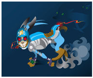 The hare -  robot, runs away from , persecutors. Royalty Free Stock Photography