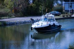 A boat on a lock royalty free stock image