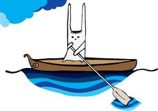 Hare sailing canoe Royalty Free Stock Photo
