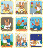 Hare Schedule Day Se. Schedule of day of a little hare Royalty Free Stock Photo