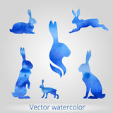 Hare set of watercolor silhouettes Stock Photo