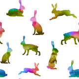 Hare set of watercolor silhouettes. Hare set of vector watercolor silhouettes in rainbow style stock illustration