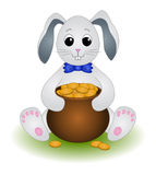 Hare sits with a pot of gold Stock Images