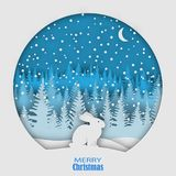 A hare sitting on a snowdrift in a snowfall, against the backdrop of a forest of Christmas trees. Christmas, New Year`s illustrati Stock Photos