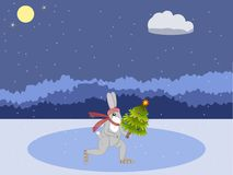 Hare on skates. Christmas card. Hare with a Christmas tree skating on a forest rink against a background of a night forest. Vector illustration Royalty Free Stock Photos
