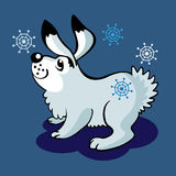 Hare and snowflakes Royalty Free Stock Images