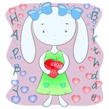 Hare with strawberries vector greeting card. Sweet illustration Royalty Free Stock Images