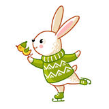 Hare in sweater skates. Christmas cute illustration in a childrens style. Rabbit  illustration Stock Photos