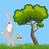 Hare with willow and Easter basket. Hare with an Easter basket and a bouquet of willows walking along a forest glade, vector illustration Royalty Free Stock Photo
