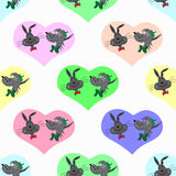 Hare and a wolf in colored hearts Valentines Day seamless vector pattern Royalty Free Stock Images