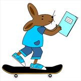 Hare and the workbook Royalty Free Stock Photography