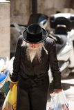 Haredi ultra orthodox Jew in Mea Shearim. JERUSALEM, ISRAEL - MAY, 16, 2018: Ultra orthodox Haredi Jews living their daily life on the streets of the Mea Shearim Stock Photos
