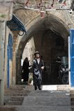 Haredi ultra orthodox Jew in Mea Shearim. JERUSALEM, ISRAEL - MAY, 16, 2018: Ultra orthodox Haredi Jews living their daily life on the streets of the Mea Shearim Royalty Free Stock Photo