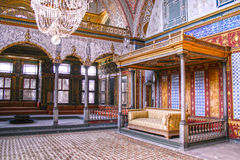 Harem in Topkapi palace. Beautifully decorated vintage audience hall of Sultan at Topkapi palace in Istanbul stock images
