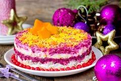 Harengs russes traditionnels de salade d'apéritif de Noël sous un fu Images libres de droits