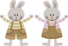 Hares. Toy rabbit boy and girl Royalty Free Stock Photography