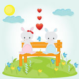 Hares. Valentine card with hares and hearts Stock Images