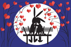 Hares at the bench. Hares at the bench with hearts-trees Royalty Free Stock Image